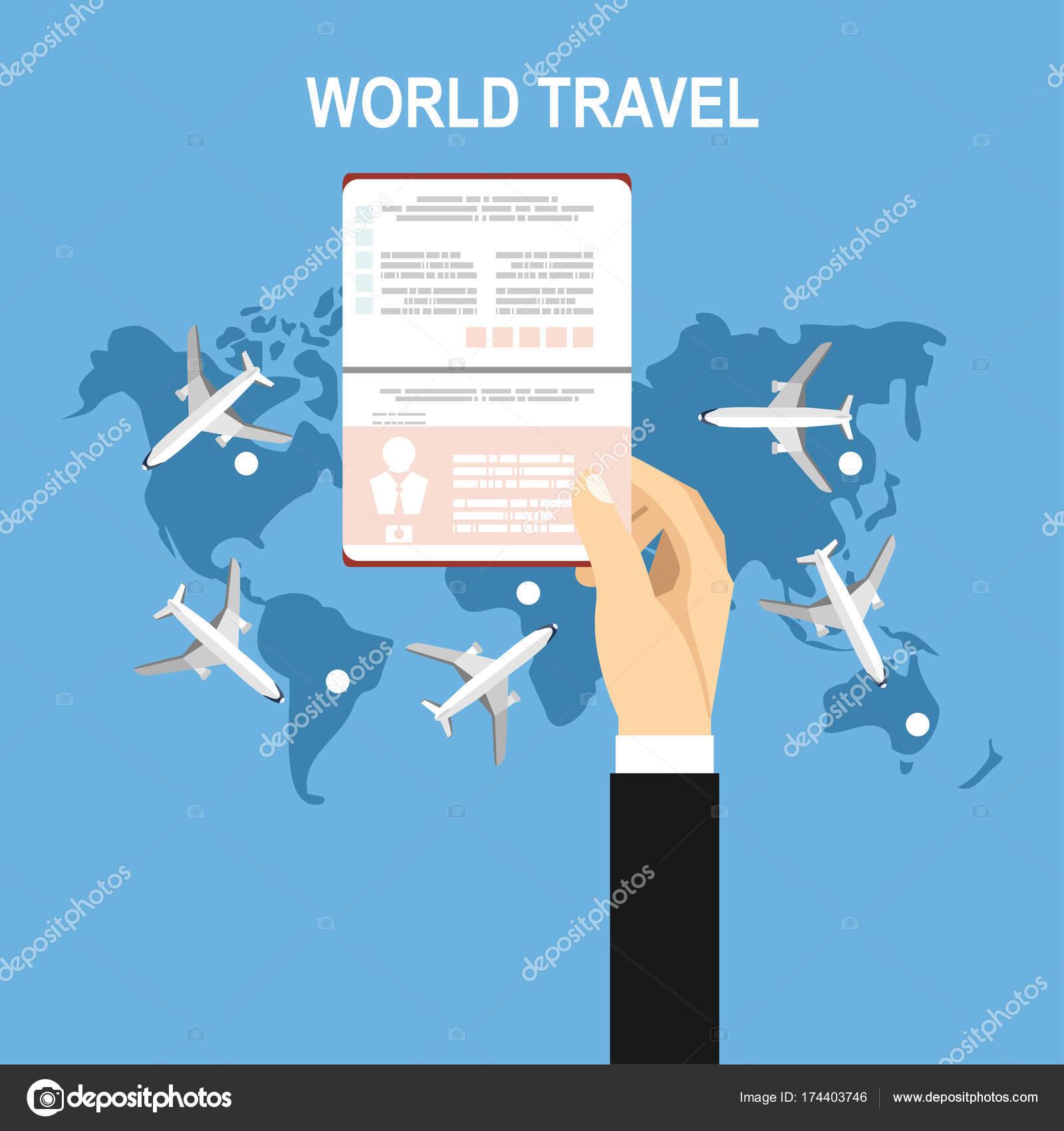 Vector Illustration Flat Background Hand Passport Travel