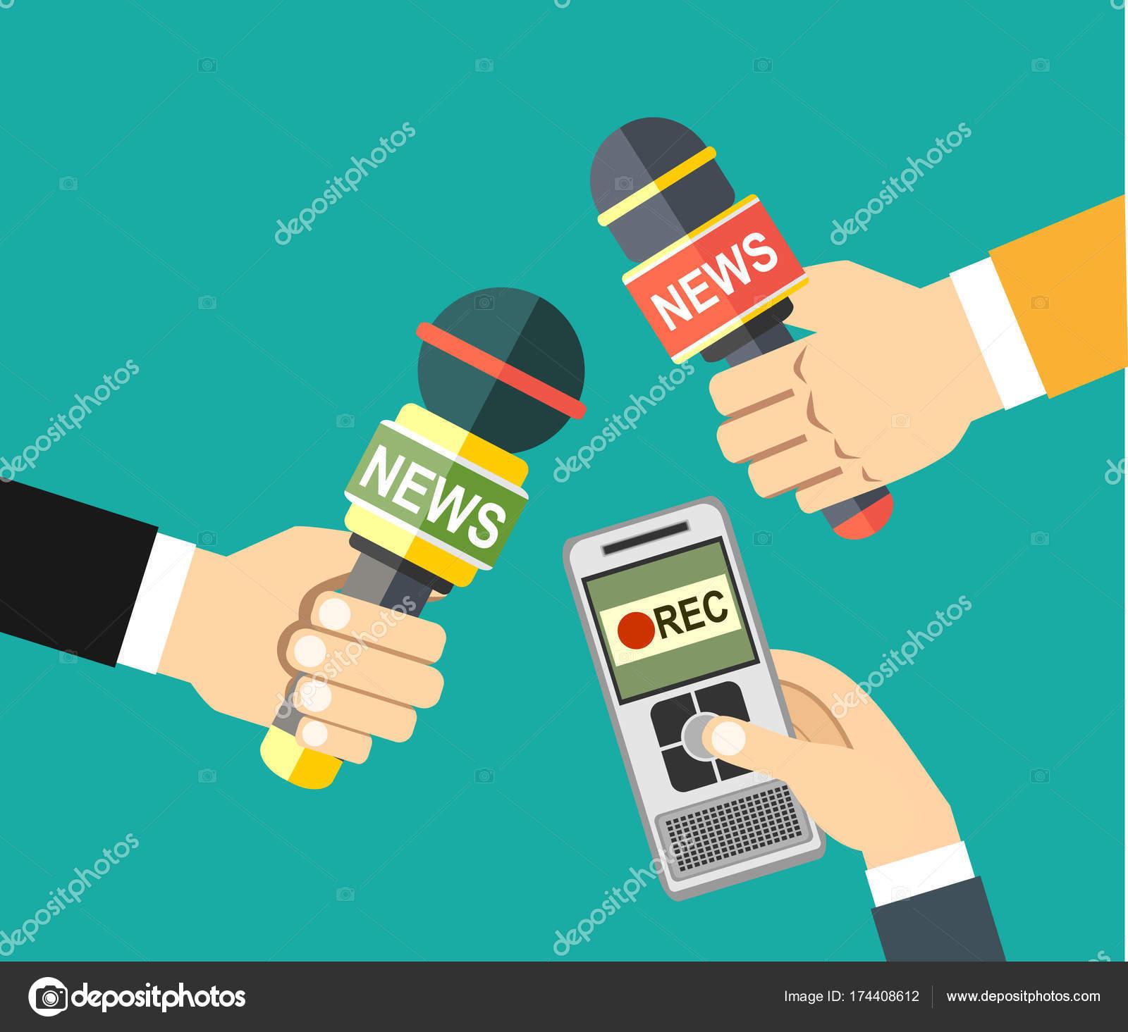 Manos Sosteniendo Grabadora Voz Micrófonos Concepto Medios ...
