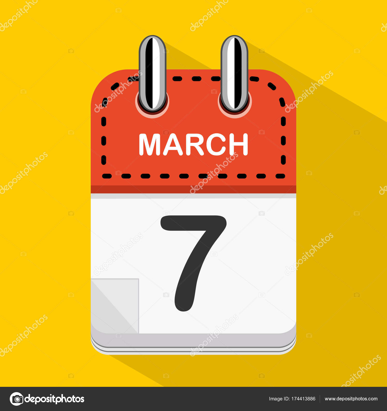 Daily Holiday Calendar.March Vector Flat Daily Calendar Icon Date Time Day Month Stock