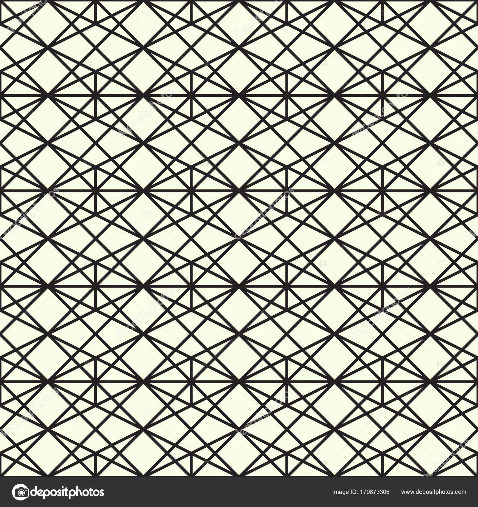 Geometric Trellis Pattern Black White Seamless Background Screen Print Vector Stock