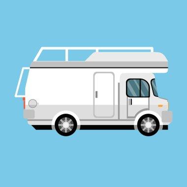 modern camper flat logo, vector, illustration