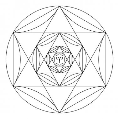 Coloring book of sacred geometry. Mandala of zodiac sign of Aries