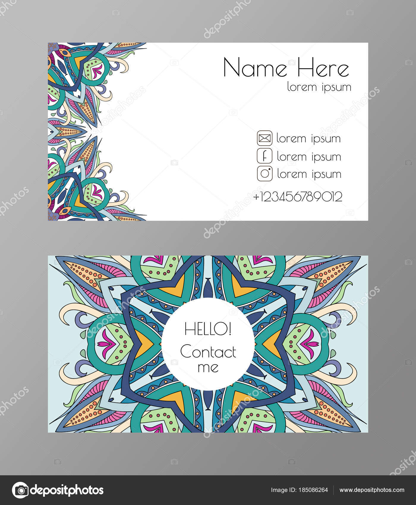 Carte De Visite Avec Arabesque Modele Abstrait Mandala Didentite Corporative Vector Colore Et Lumineux Illustration Stock