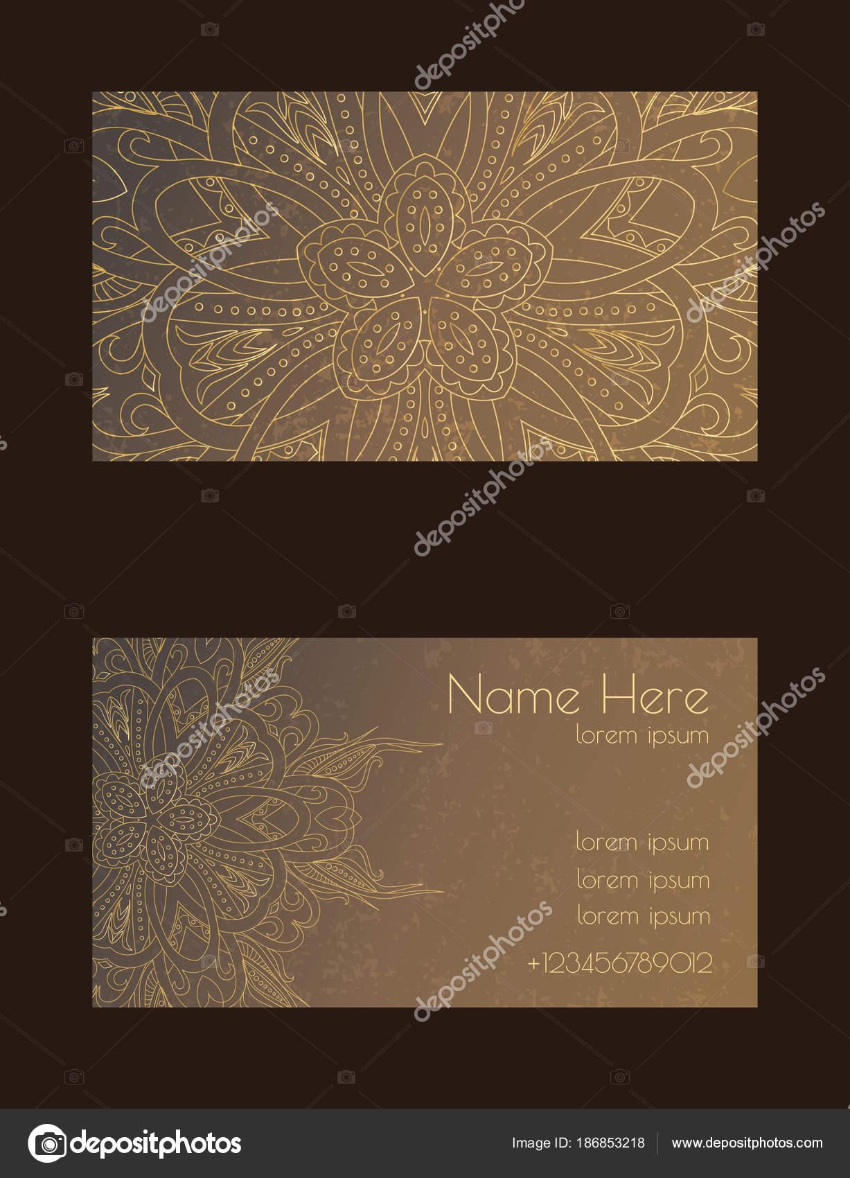 Le Modele Modifiable De Vecteur Avec Avant Et Arriere Visiter Cartes Busines Carte Vith Mandala Arabesque Design Doodle Rechauffer Les Couleurs Brun Or