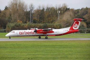 Hamburg Fuhlsbttel - 22.10.2017 Bombardier Dash 8 Q400 of Air Berlin landing on Hamburg airport 22.10.2017 in Hamburg, Germany