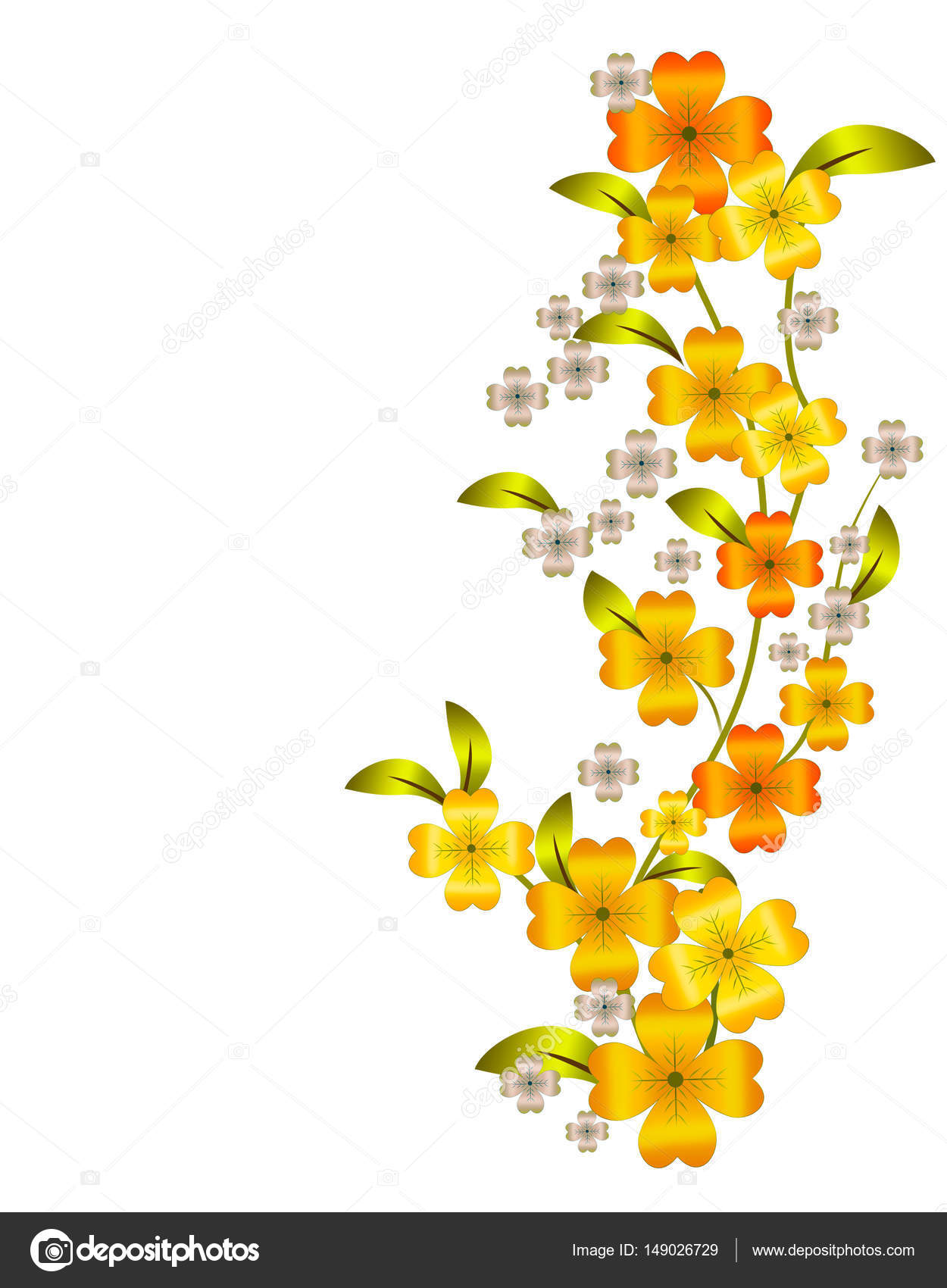 Floral Vertical Border Branches With Yellow Flowers Stock Vector