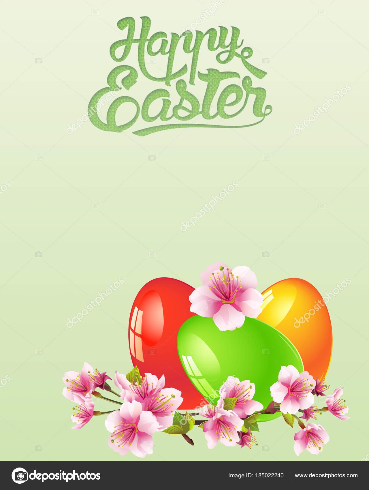 Feliz Pascua Resurrección Primavera Ramas Manzanas Huevos Pascua