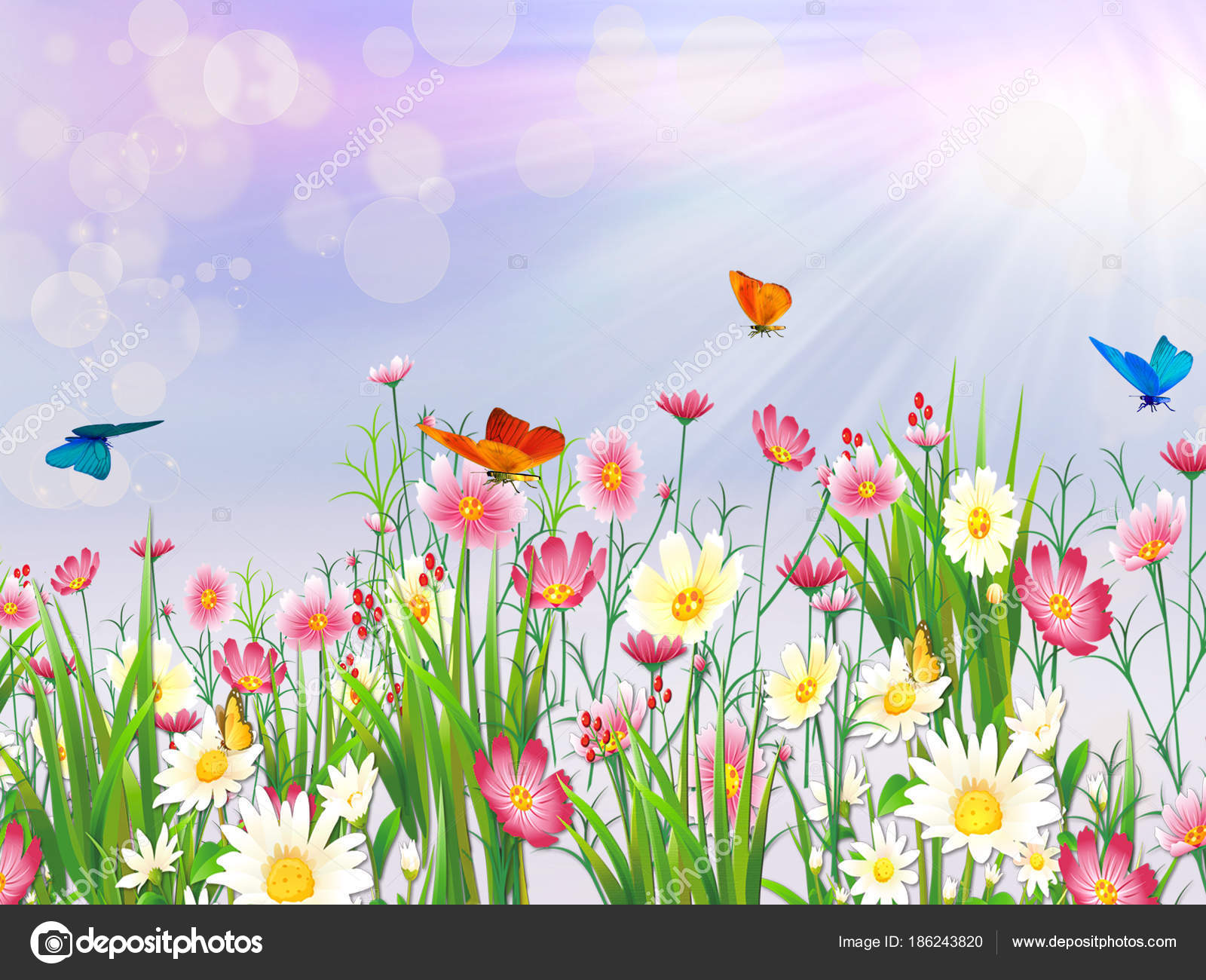 Spring Nature Background Flowers Butterfly Stock Vector C Lily45