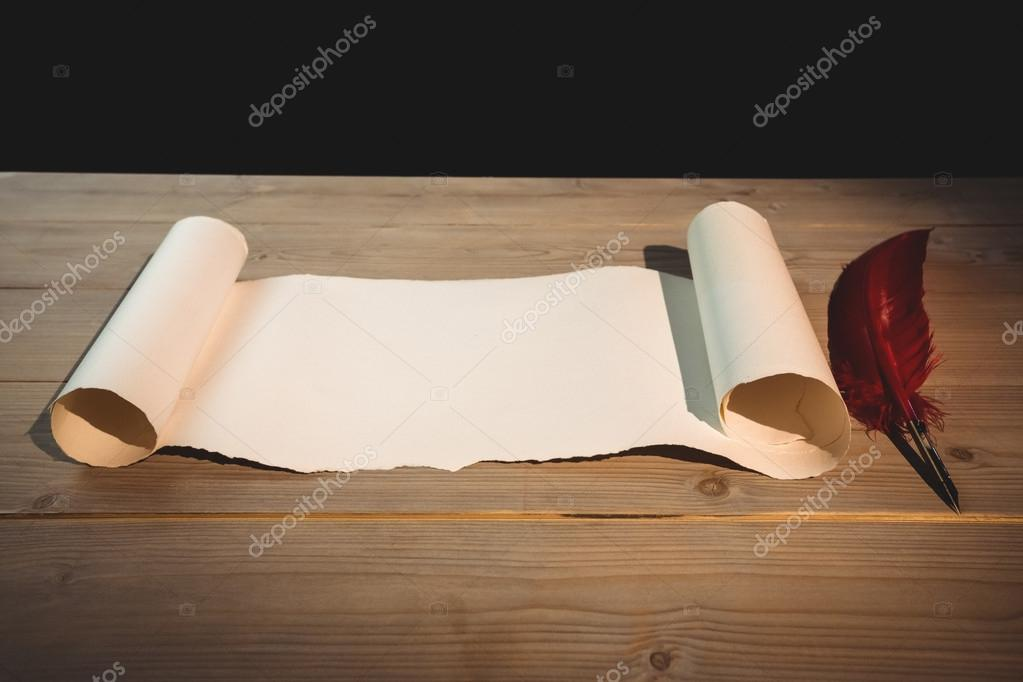 old blank scroll paper and quill — stock photo © wavebreakmedia, Powerpoint templates