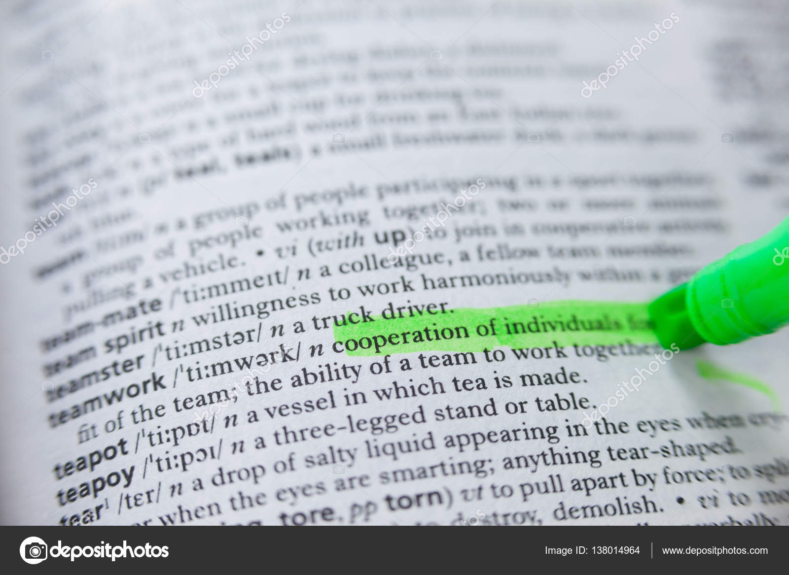 highlighted definition of teamwork in dictionary — stock photo