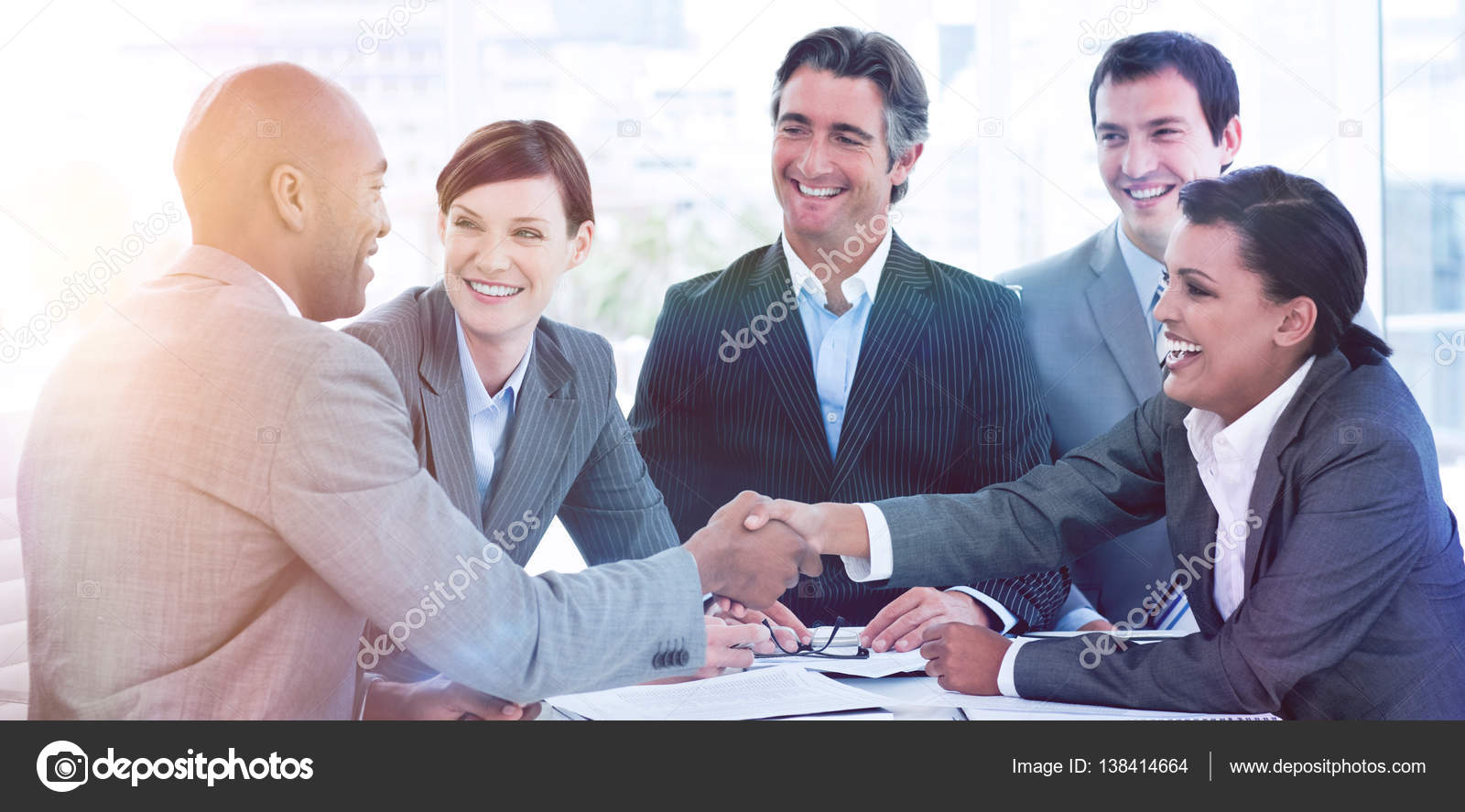 Business people greeting each other stock photo wavebreakmedia business people greeting each other in a meeting photo by wavebreakmedia m4hsunfo