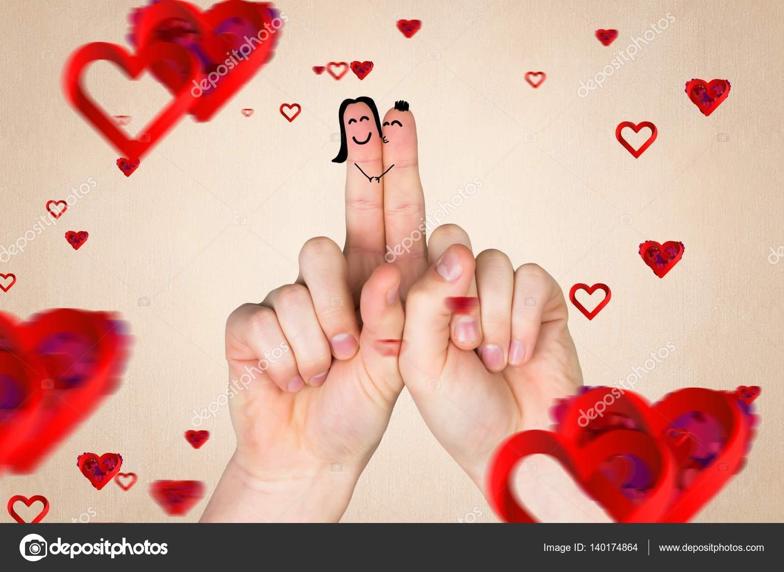 Par De Dedos En Amor Con Corazones Rojos Fotos De Stock