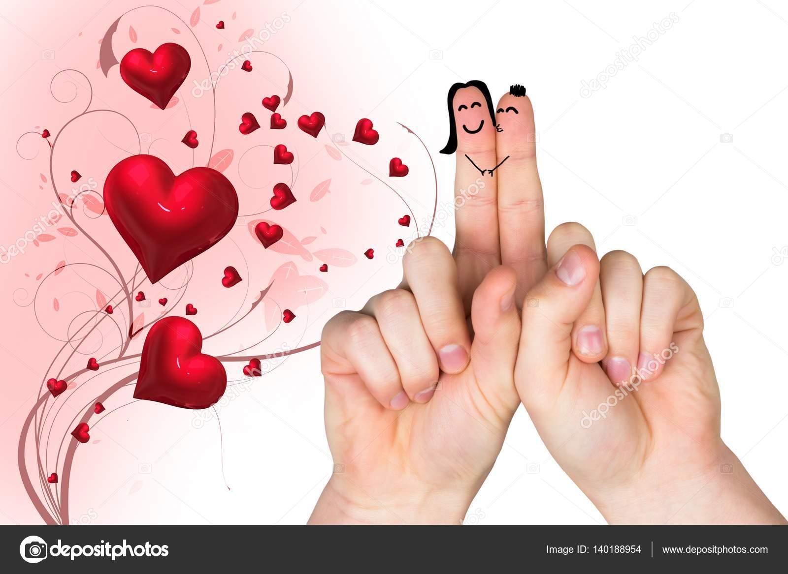 Imágenes Dedos De Amor Par De Dedos En Amor Con Corazones Rojos