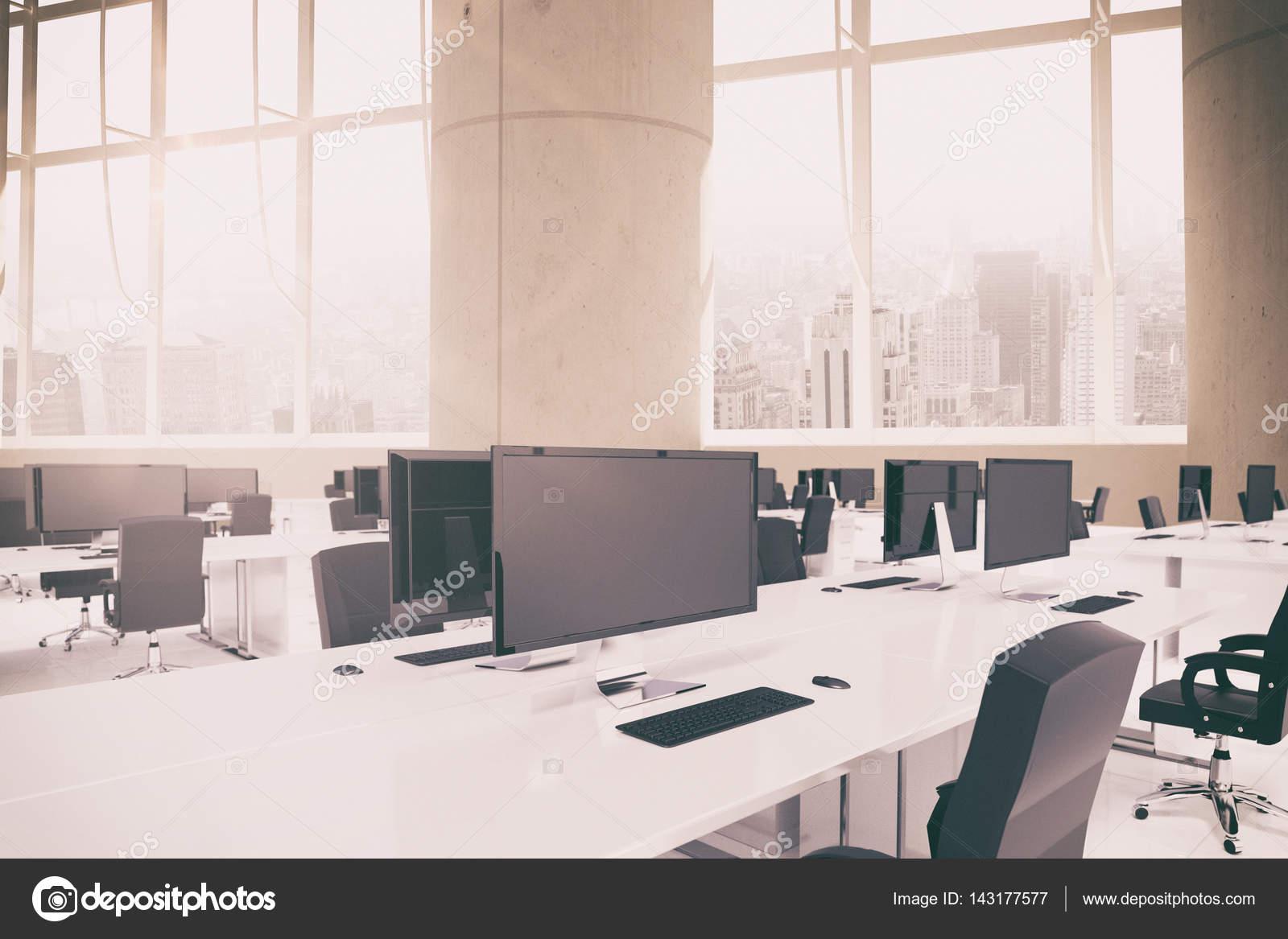 mobilier de bureau 3d contre windows photographie wavebreakmedia 143177577. Black Bedroom Furniture Sets. Home Design Ideas