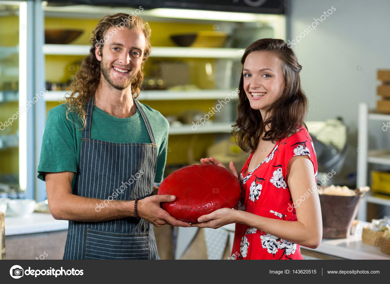 Portrait of salesman and costumer holding gouda cheese at counter u2014 Stock Photo  sc 1 st  Depositphotos & Portrait of salesman and costumer holding gouda cheese at counter ...