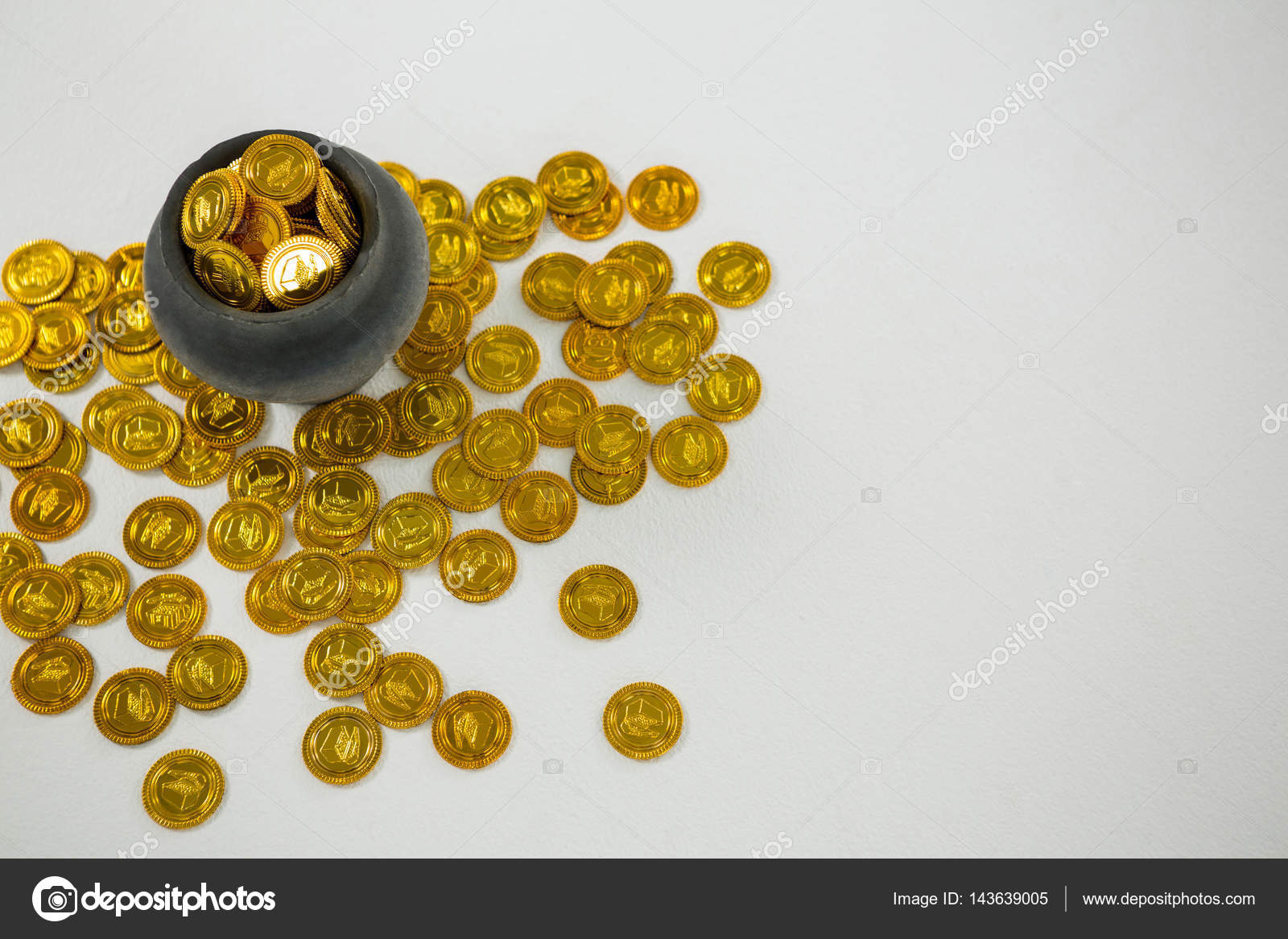 St Patricks Day Pot Filled With Chocolate Gold Coins Stock Photo