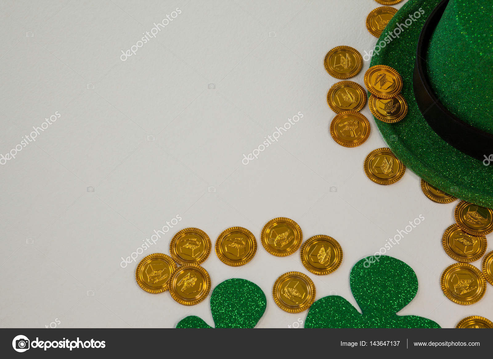 St Patricks Day Leprechaun Hat Shamrocks And Chocolate Gold Coins Stock Photo