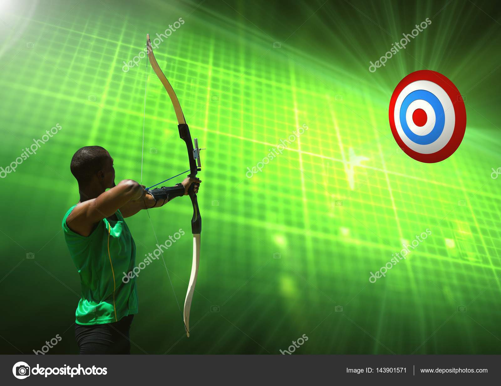 Digital Composition Of Man Aiming With Bow And Arrow At Target Against Green Background Photo By Wavebreakmedia