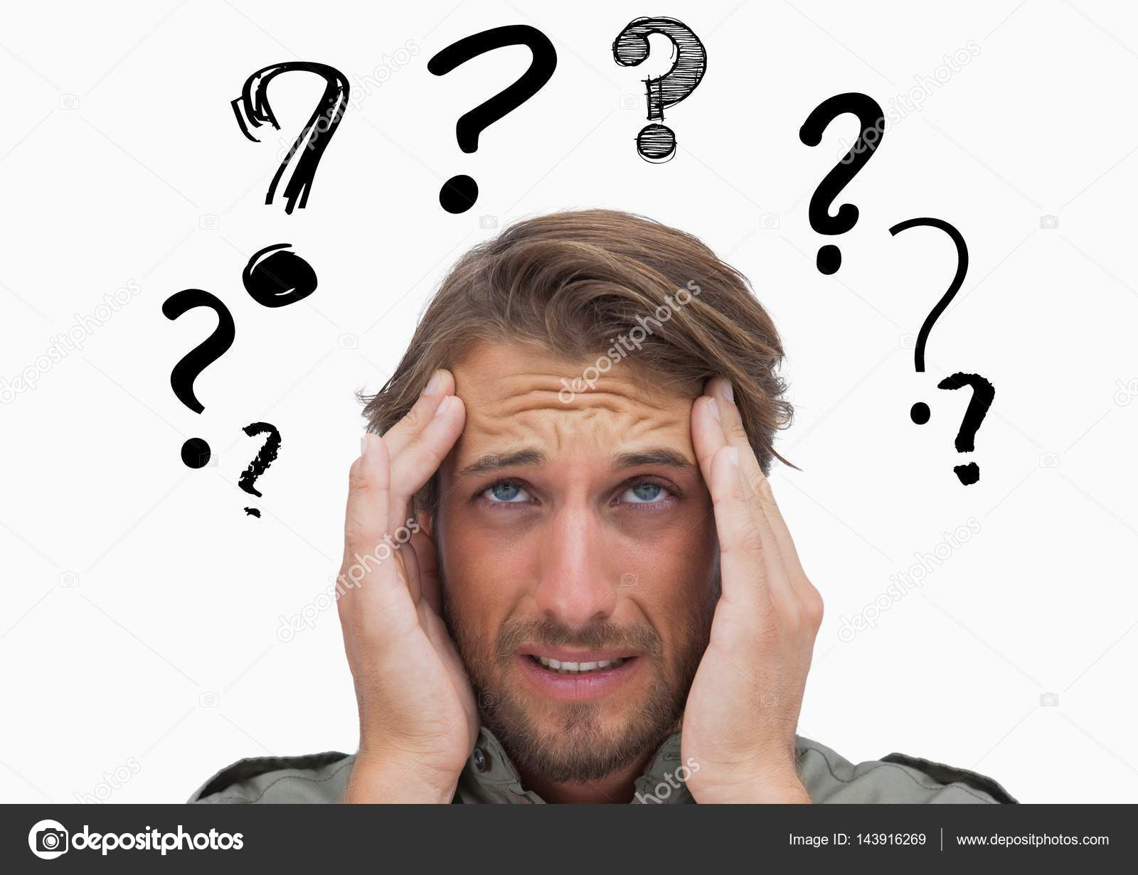 Confused man with graphic question mark ⬇ Stock Photo, Image by ©  Wavebreakmedia #143916269