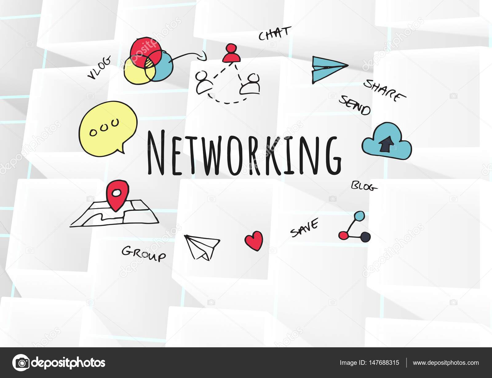 Networking text with drawings graphics — Stock Photo ...