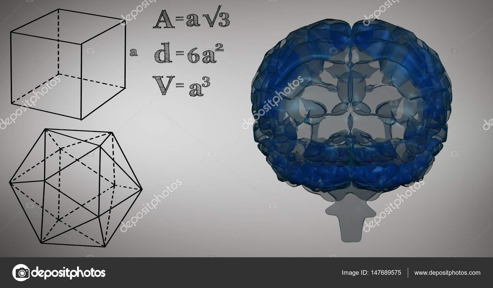 Blue brain and black math graphics stock photo wavebreakmedia blue brain and black math graphics stock photo ccuart Image collections