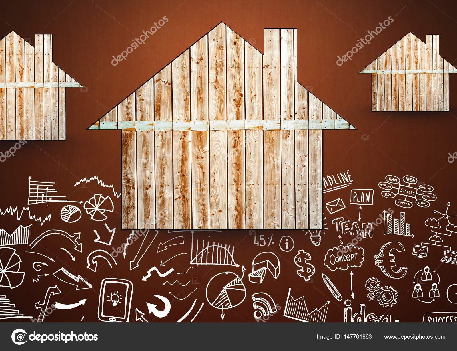 3efa6449445c Ξύλινα σπίτια καφέ φόντο με σχέδια σχέδια και διαγράμματα — Φωτογραφία  Αρχείου