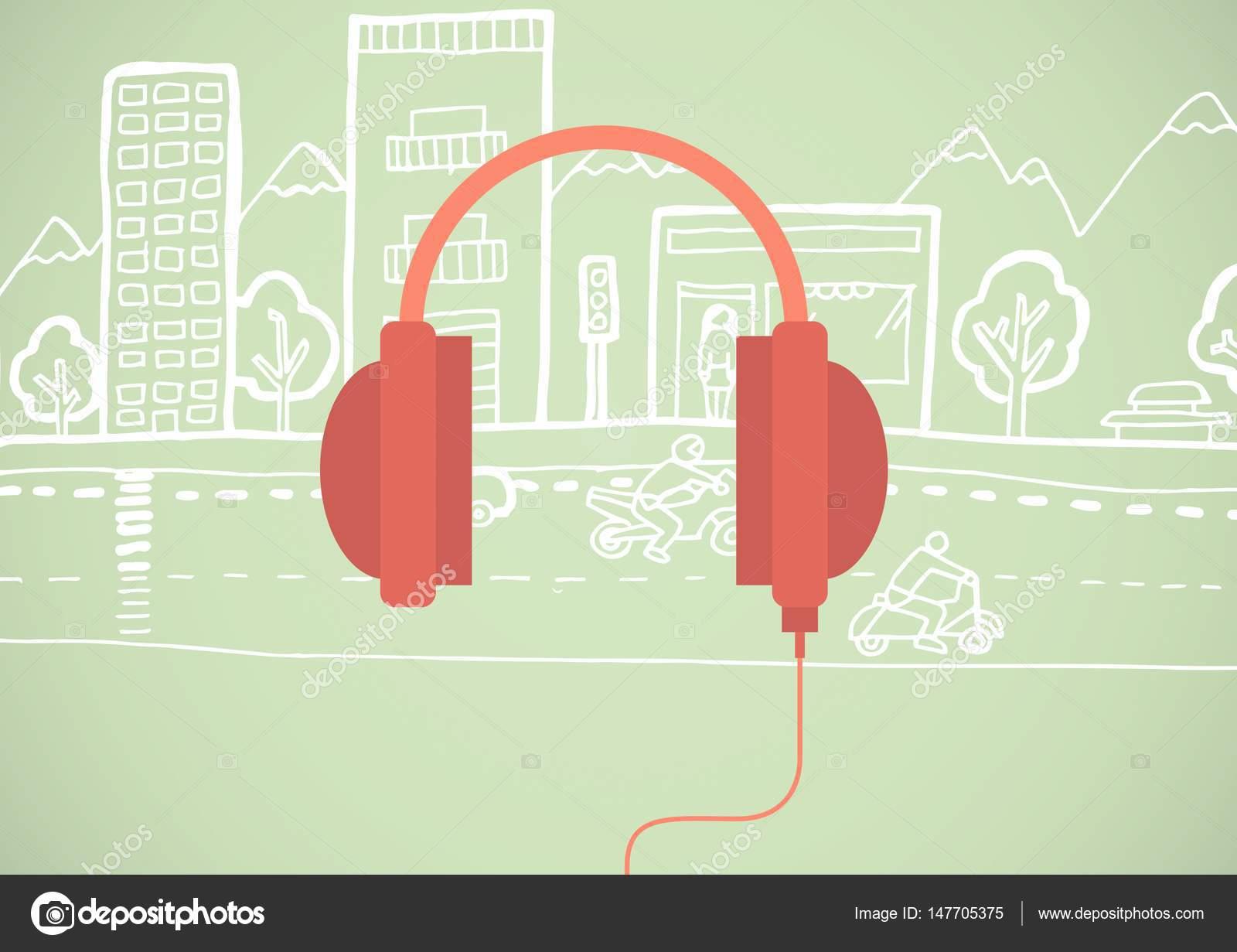 Rote Abbildung Kopfhörersymbol in Cirlce vor grünem Hintergrund mit ...