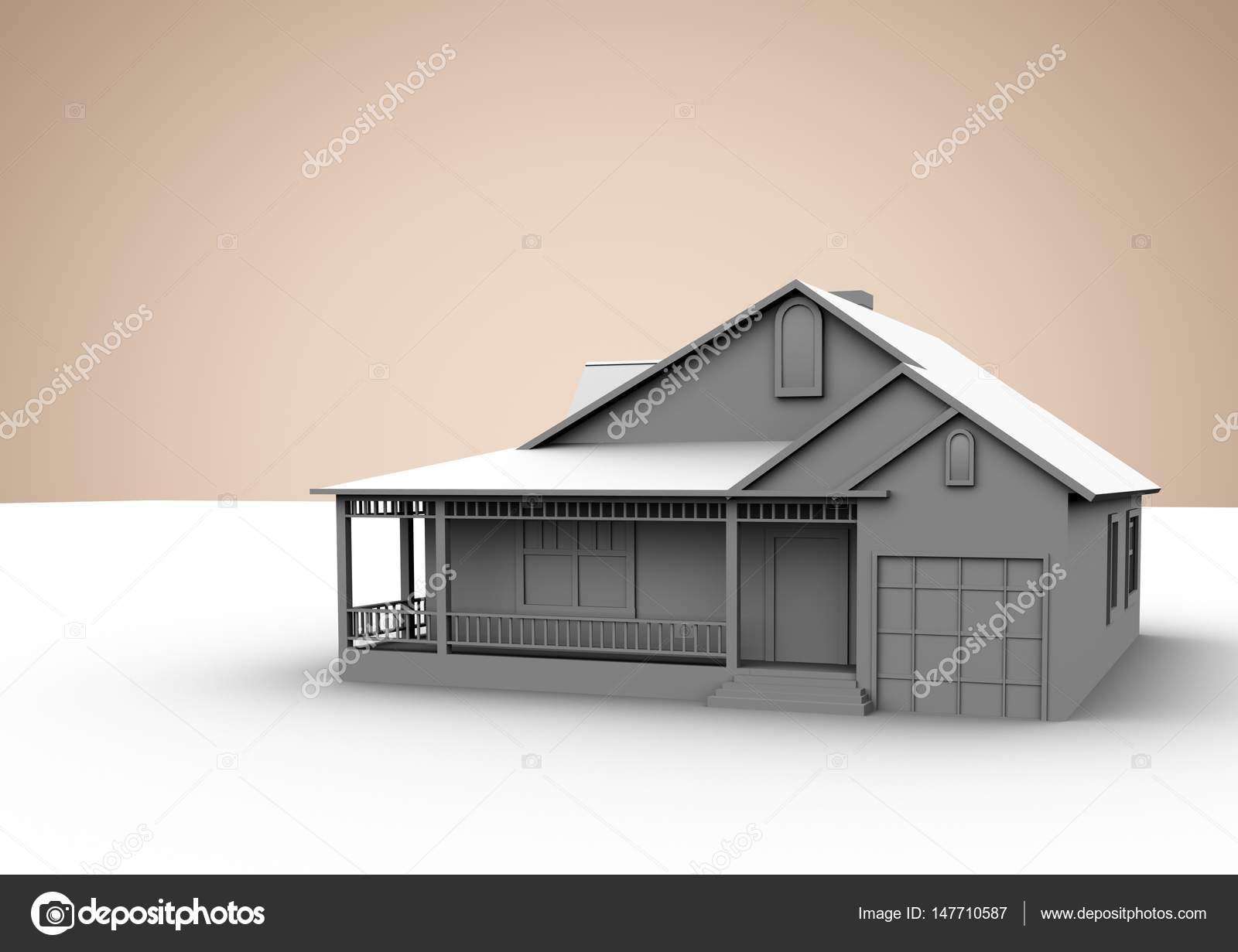 3D Haus Beige Hintergrund U2014 Stockfoto