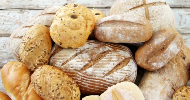 Various Types Of Bread Loaves Stock Video