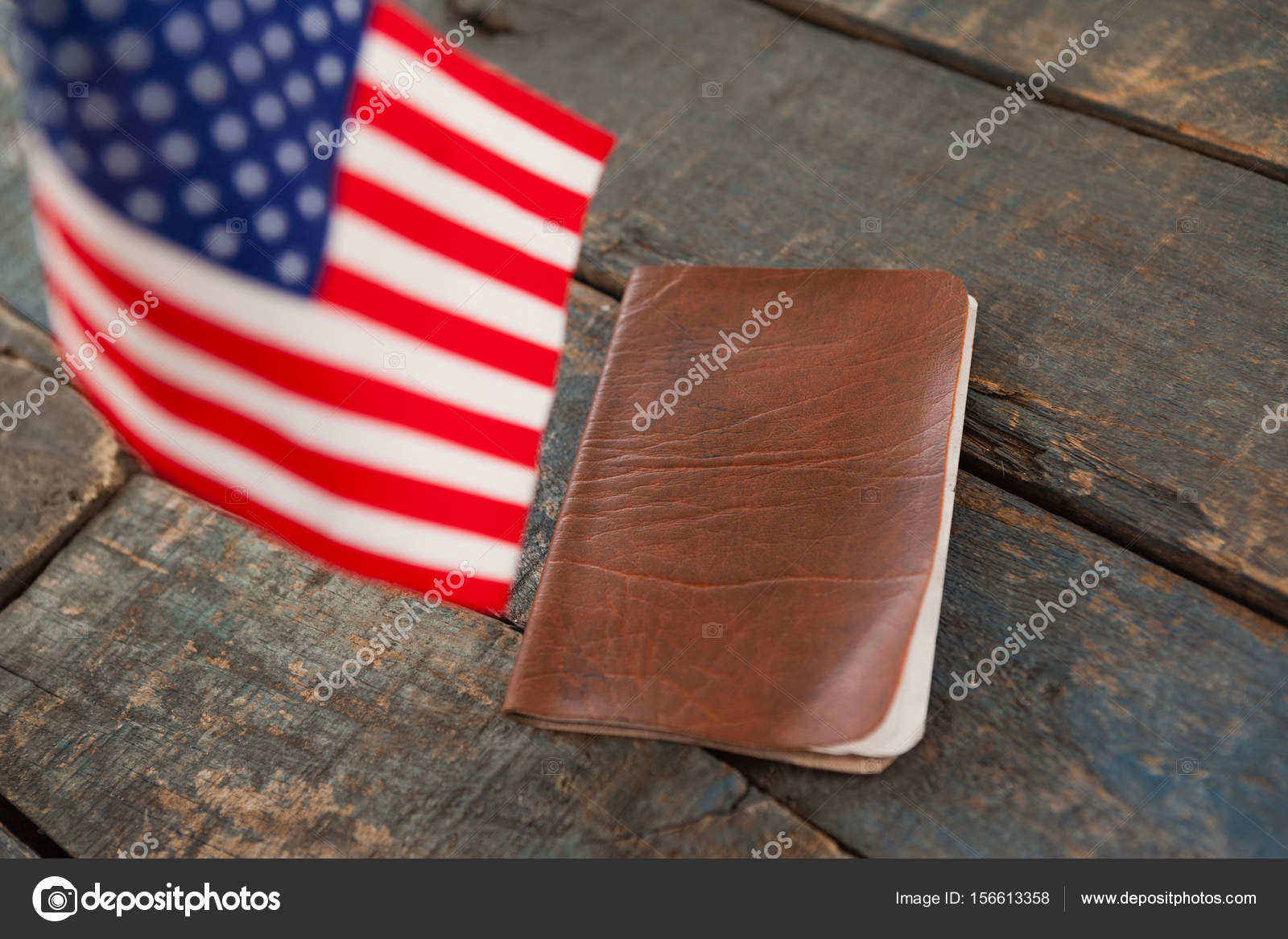 Close Up Of Visa And American Flag On A Wooden Table Photo By Wavebreakmedia