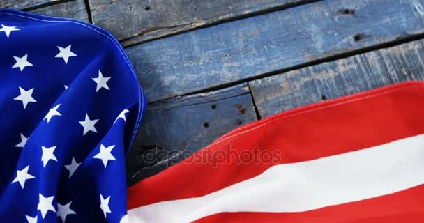American Flag And Dog Tag On A Wooden Table Stock Video