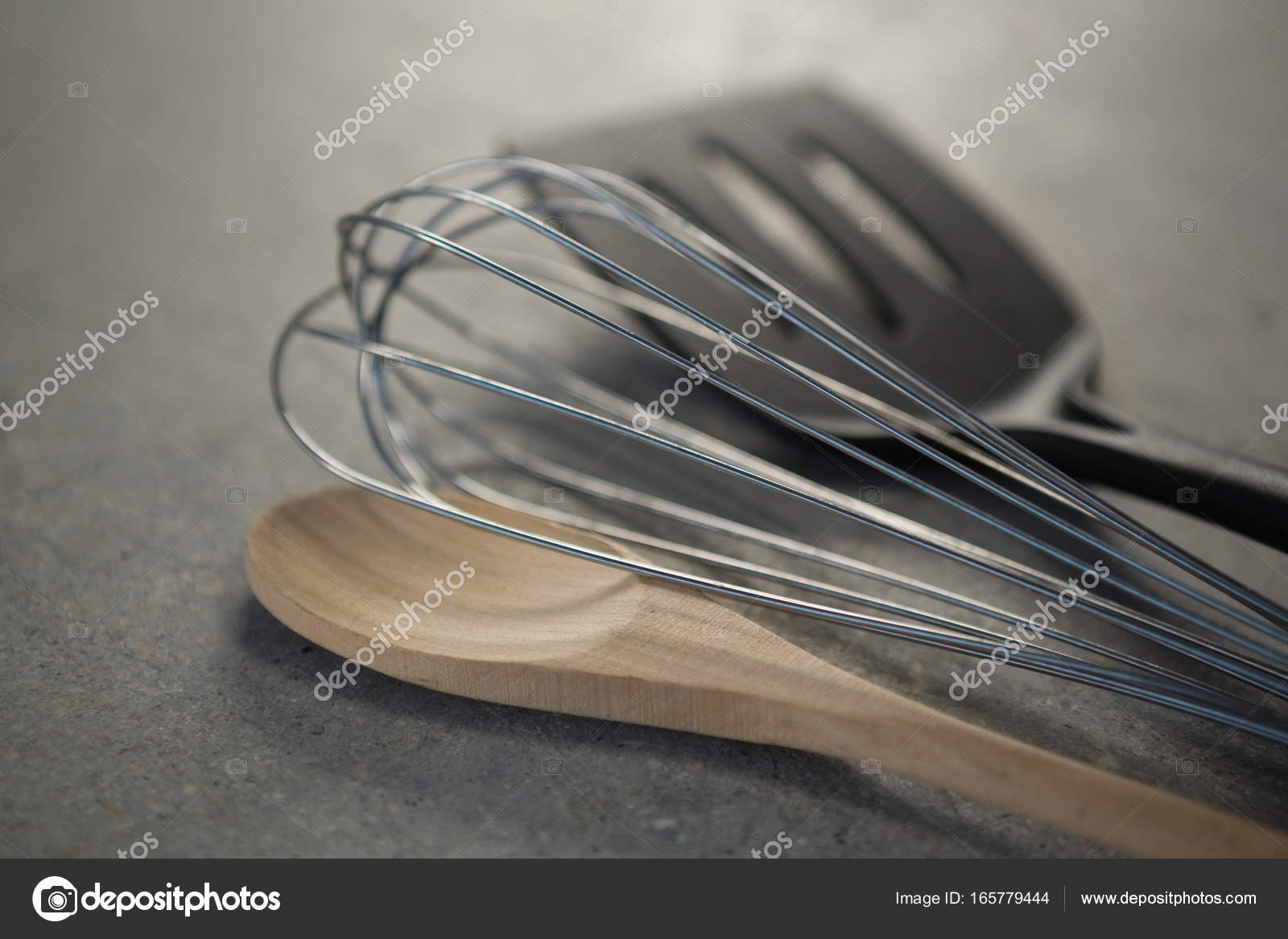 wooden spoon with wire whisk and spatula — Stock Photo ...