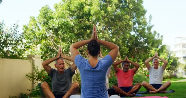 Trainer And Seniors Performing Yoga In Garden Stock Video C Wavebreakmedia 167596666