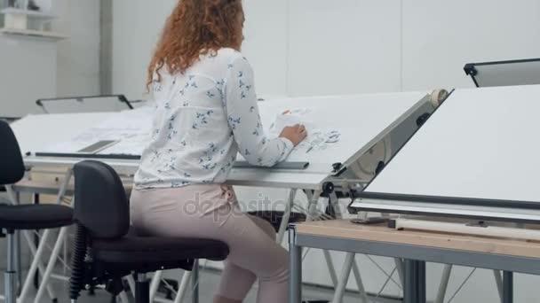 Executive Working Blueprint Office Stock Video Wavebreakmedia