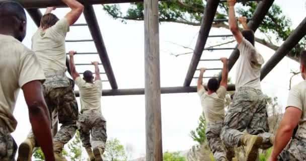 Klettergerüst Monkey Bar : Militär soldaten klettern klettergerüst boot camp u2014 stockvideo
