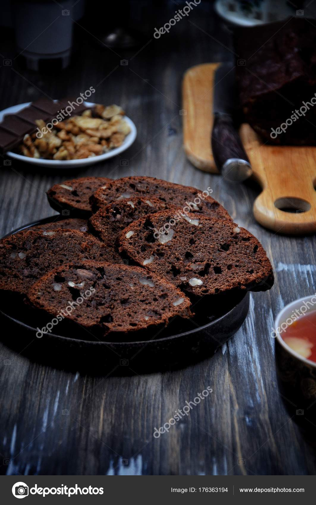 Chocolate Cake Chunks Nuts Rustic Stock Photo
