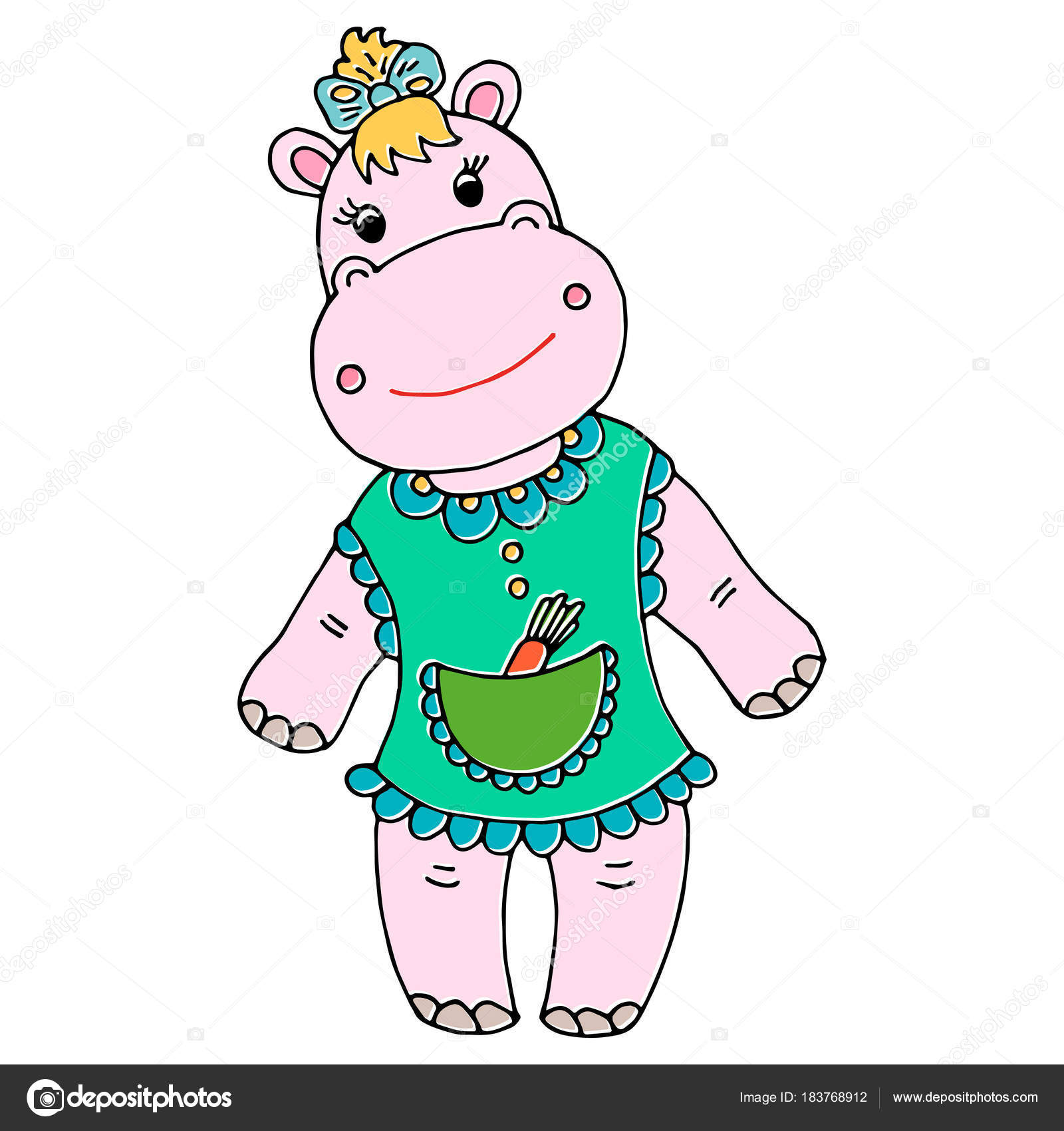 Cute Baby Hippo Girl Cartoon Hand Drawn Illustration Can Be Used
