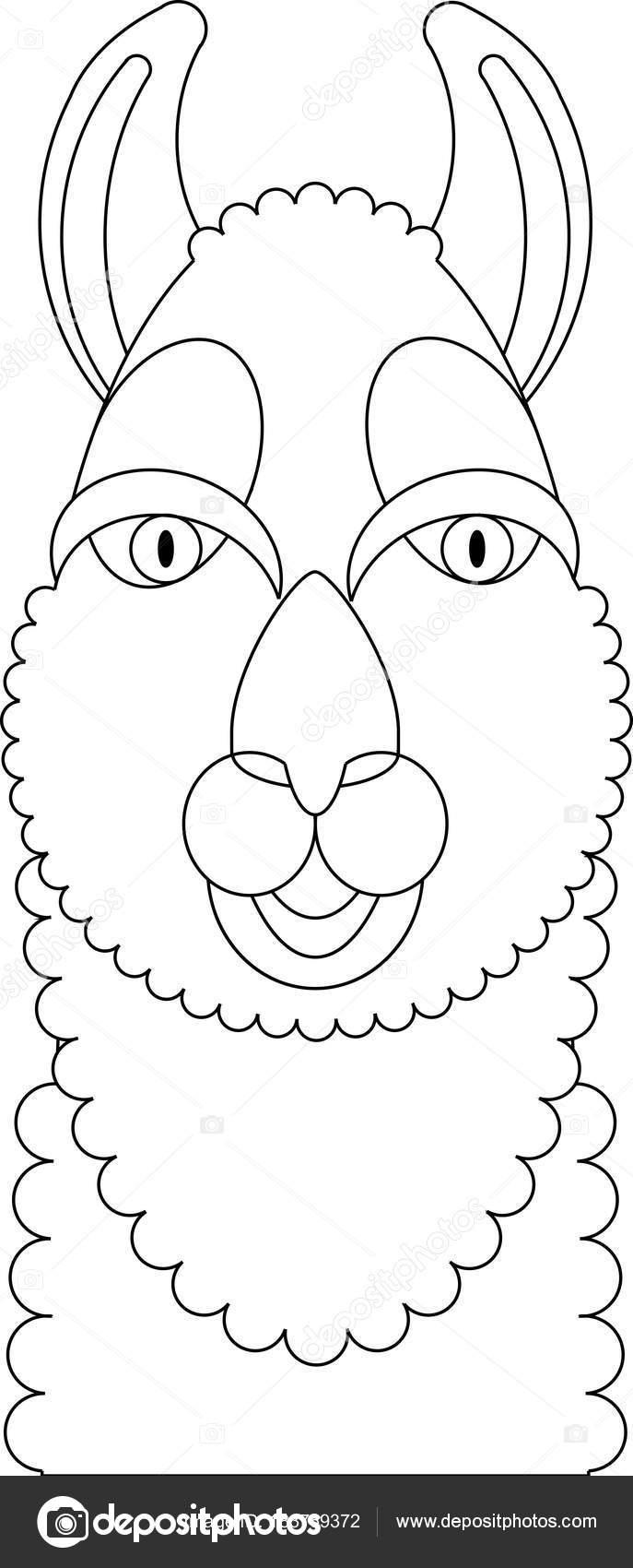 lama kleurplaat portret gemaakt in geometrische vlakke