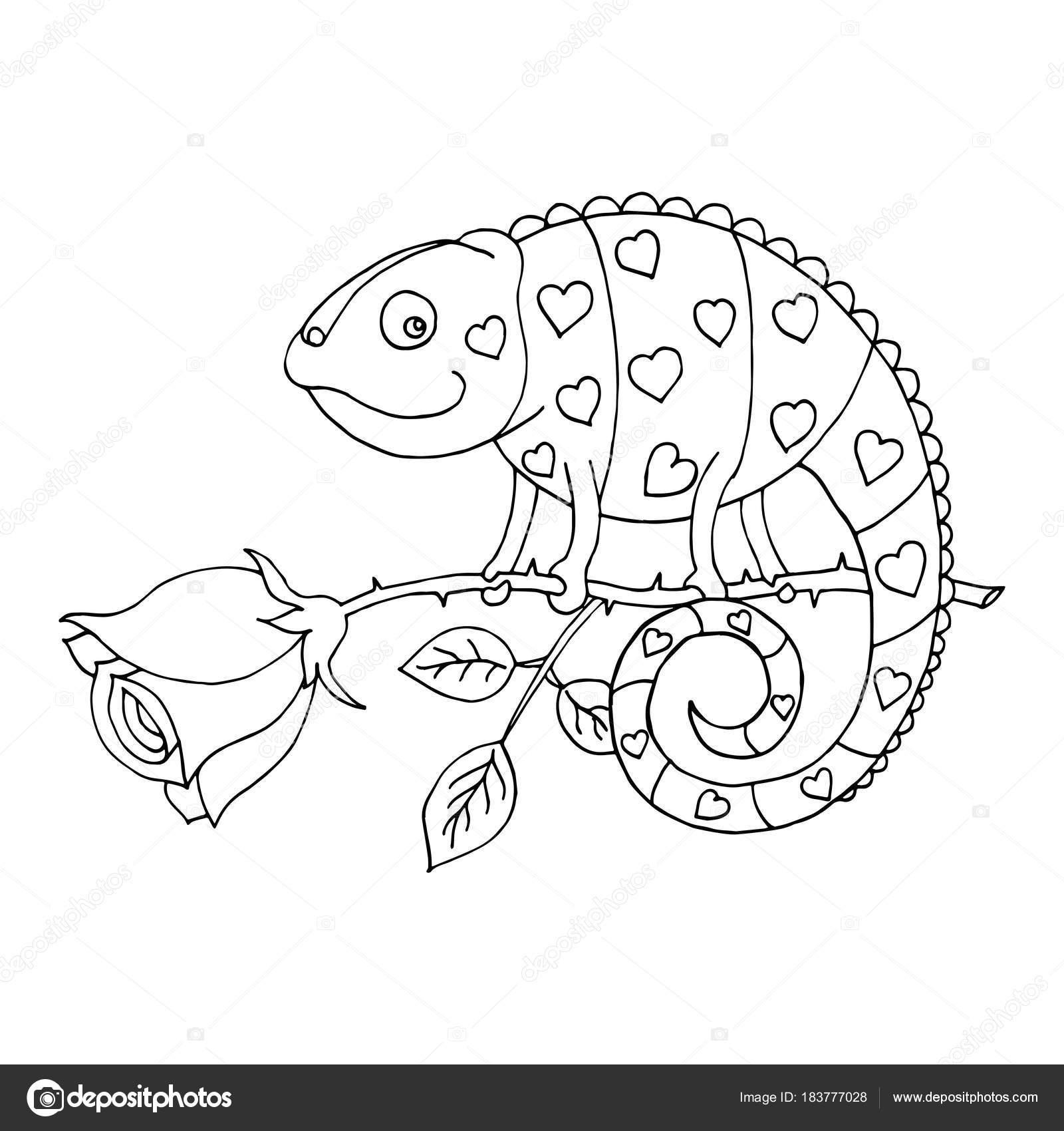 Un camaleón para colorear con el corazón en la piel se sienta en una ...
