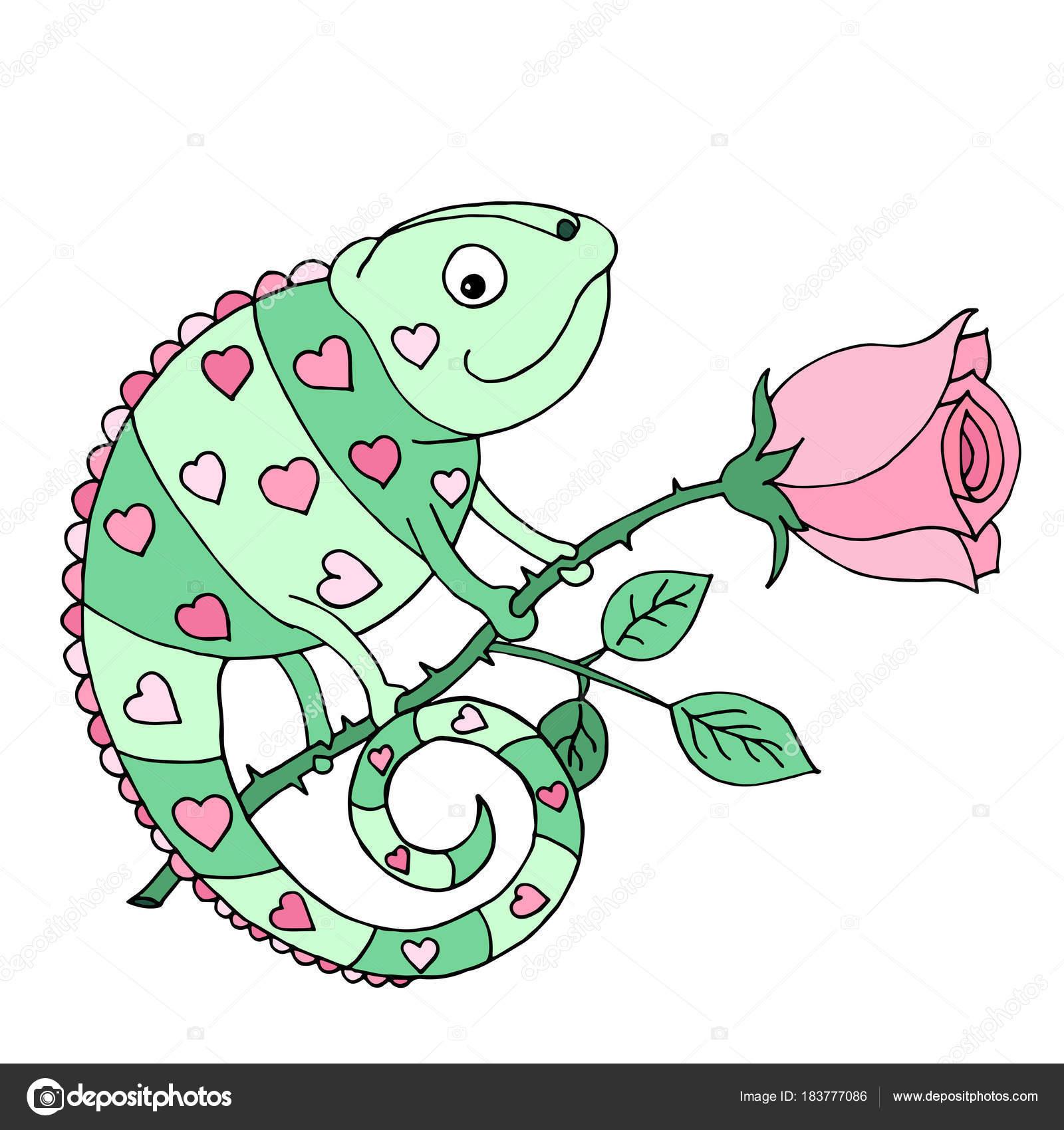 Un colorido camaleón con corazones en la piel se sienta en una rosa ...