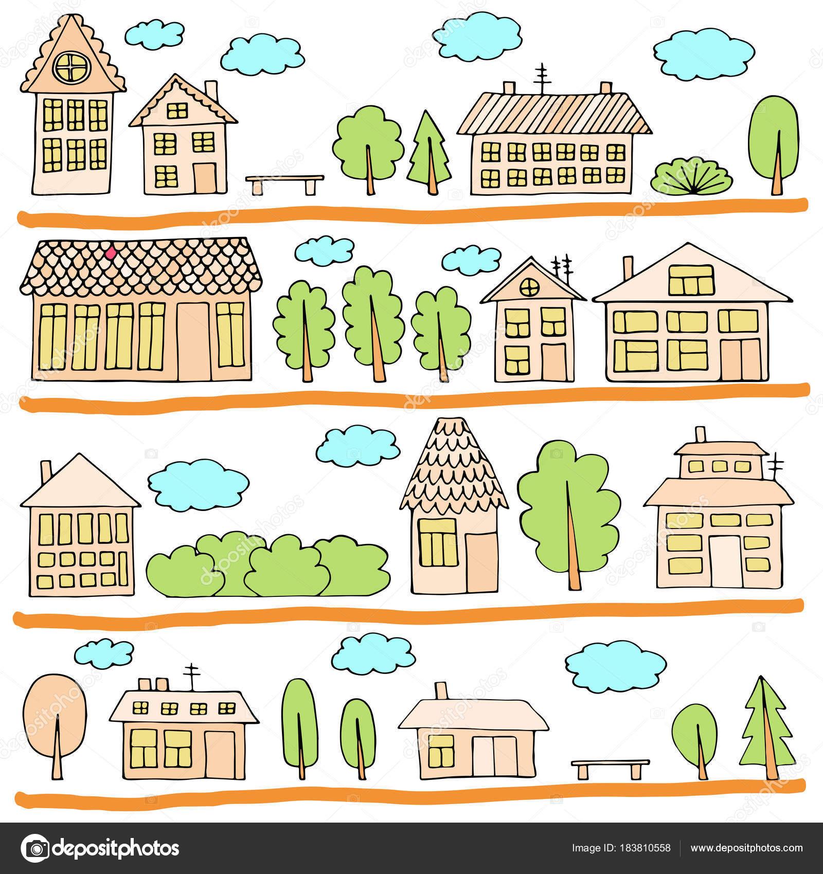町並みtownho と都市風景のイラスト ストックベクター Julimurch
