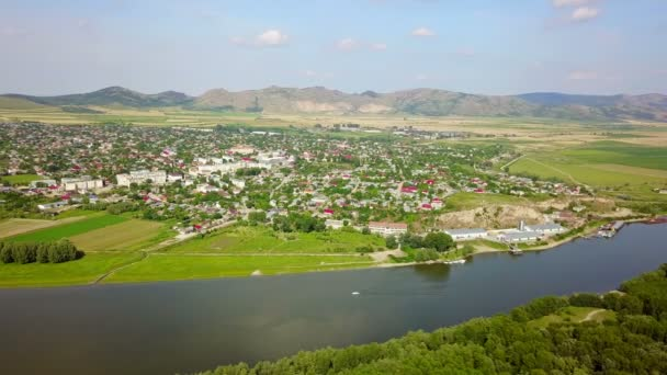 Aerial view of a small town in the Balkans and river Danube