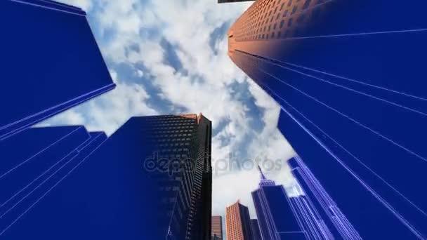 Animace nízký úhel fotoaparátu letí 3d město