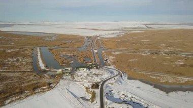 Danube delta wetlands in winter aerial view