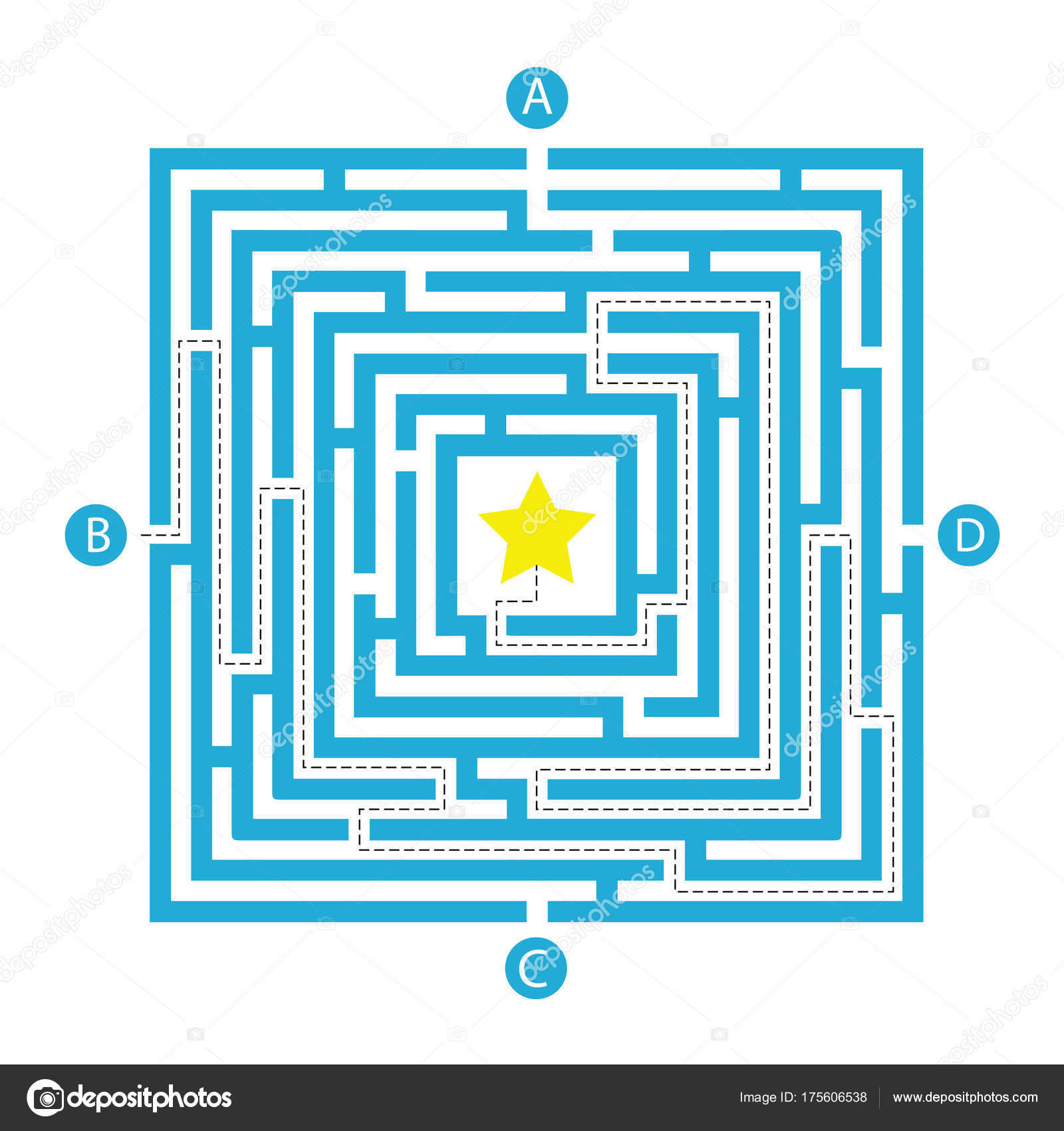 Labyrinth Shape Design Element Four Entrance One Exit One Right ...