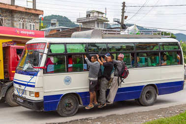 Local bus on the street to Pokhara, Nepal.