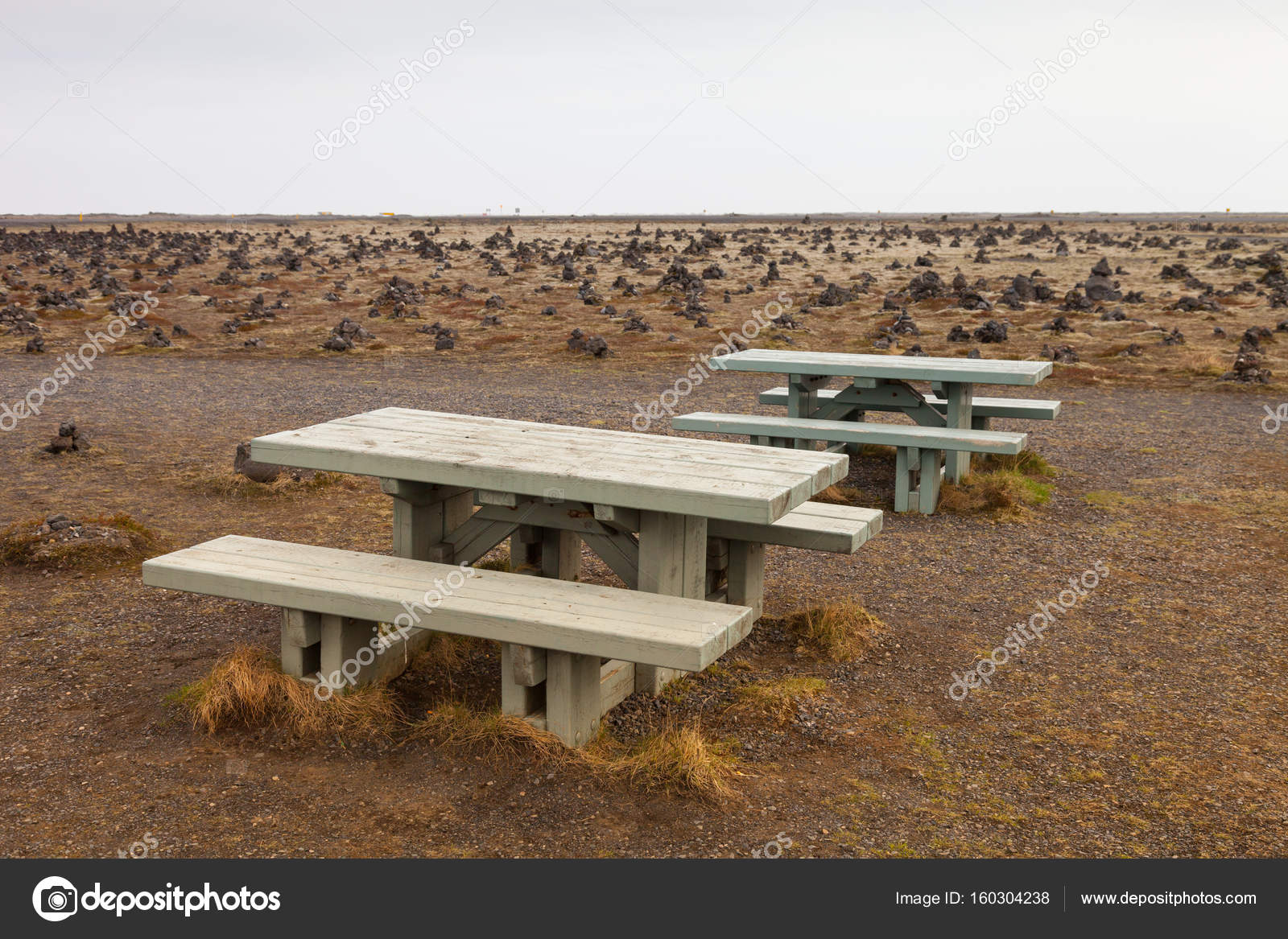 Swell Old Wooden Bench On Stony Rocky Desert Landscape Of Iceland Gmtry Best Dining Table And Chair Ideas Images Gmtryco