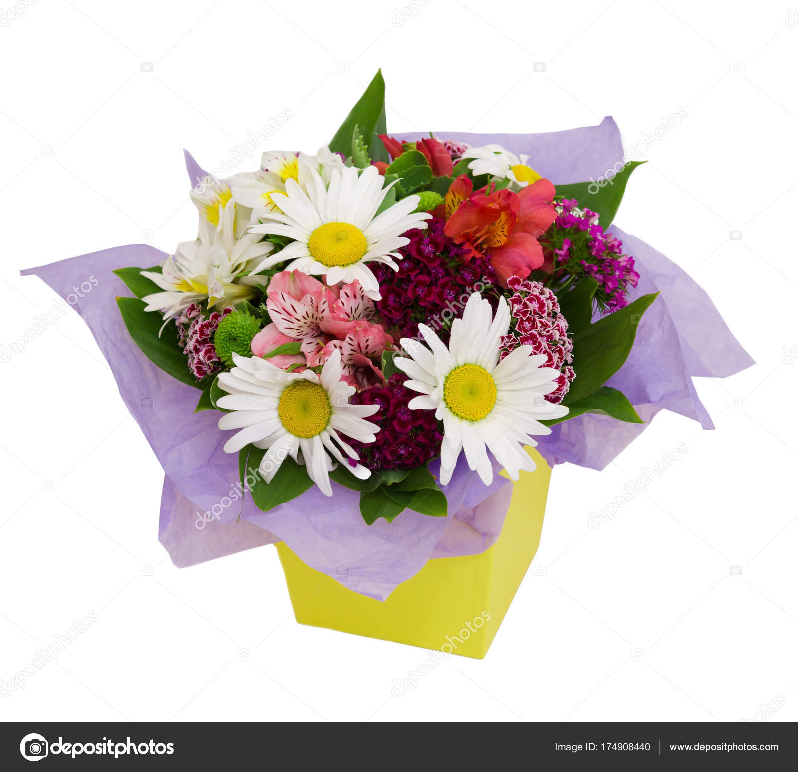 Flower Arrangement In Yellow Paper Box Isolated On White Stock