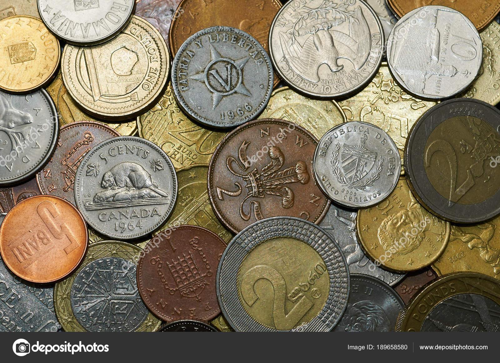 Geld Münzen Verschiedener Länder Mit Viel Textur Stockfoto