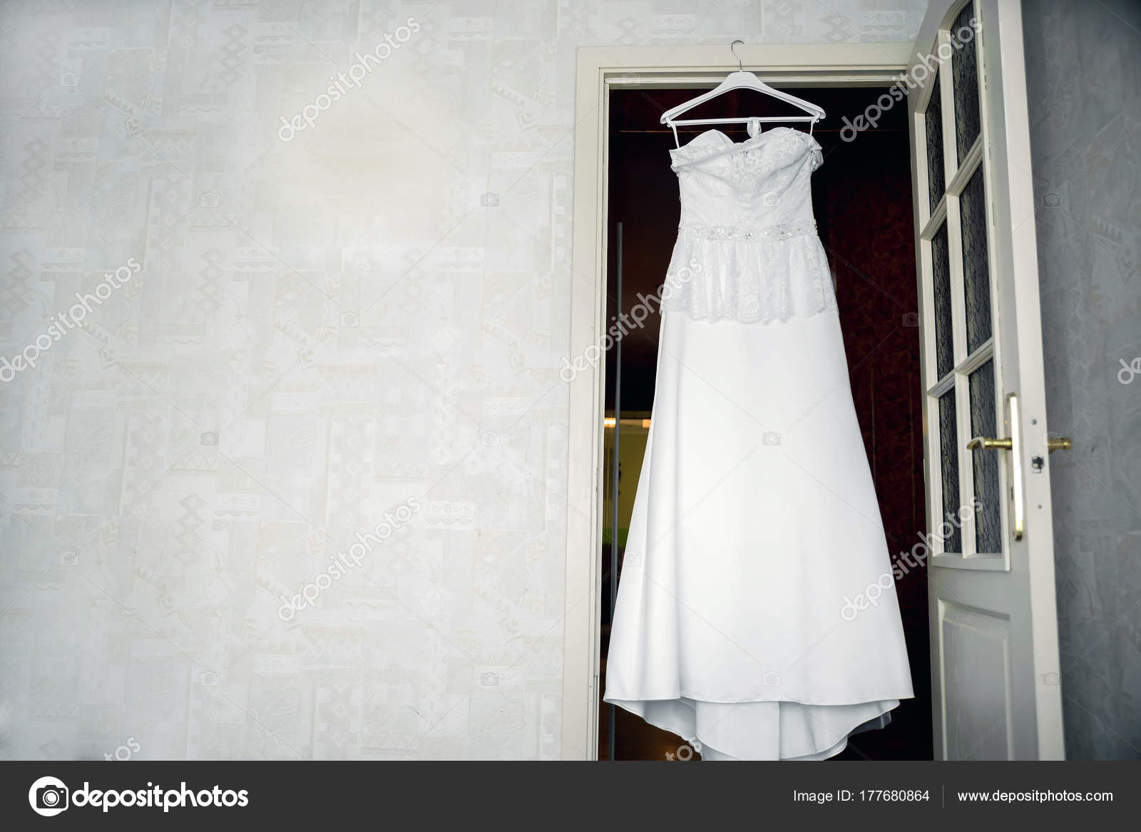Beautiful Wedding Dress Hanger Natural Light Window — Stock Photo ...